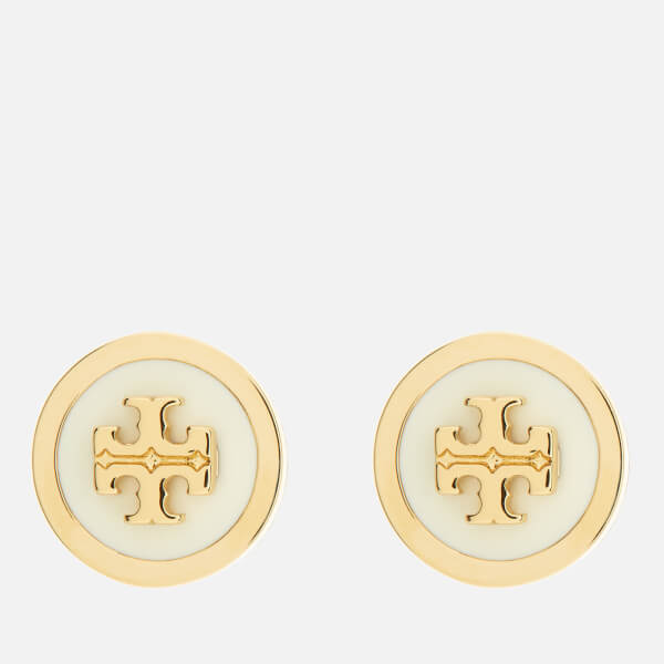 Tory Burch Women's Lacquered Raised Logo Stud Earrings - New Ivory/Gold