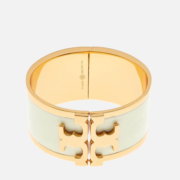 Tory Burch Women's Enamel Raised Logo Wide Cuff Bracelet - New Ivory/Gold