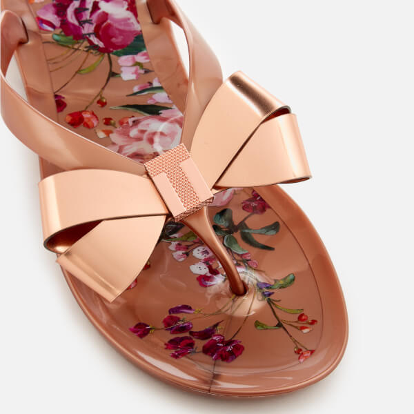 4447e1d89382f6 Ted Baker Women s Susziep Bow Flip Flops - Serenity Rose Gold Womens ...
