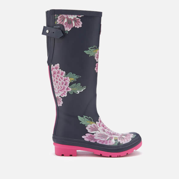 Joules Women's Welly Print Back Adjustable Tall Wellies - Navy Chinoise