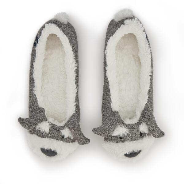 Joules Women's Ballet Pup Slippers - Light Grey