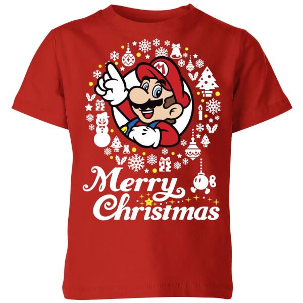 Nintendo Super Mario Merry Christmas White Wreath Kids' T-Shirt - Red