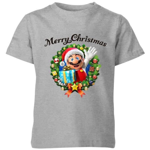 Nintendo Super Mario Merry Christmas Hat Present Kids' T-Shirt - Grey
