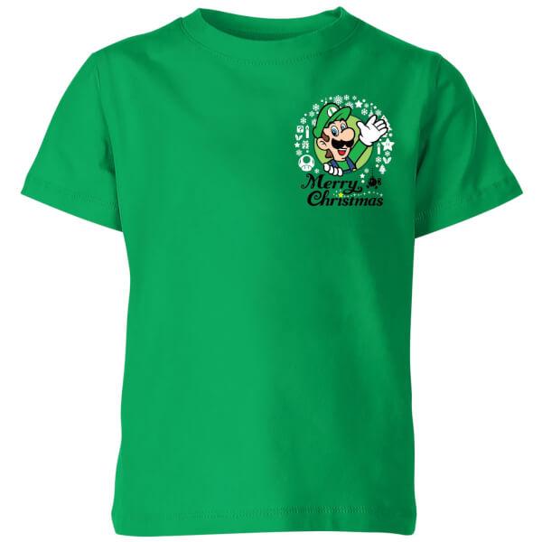 Nintendo Super Mario Luigi Merry Christmas Pocket Wreath Kids' T-Shirt - Kelly Green