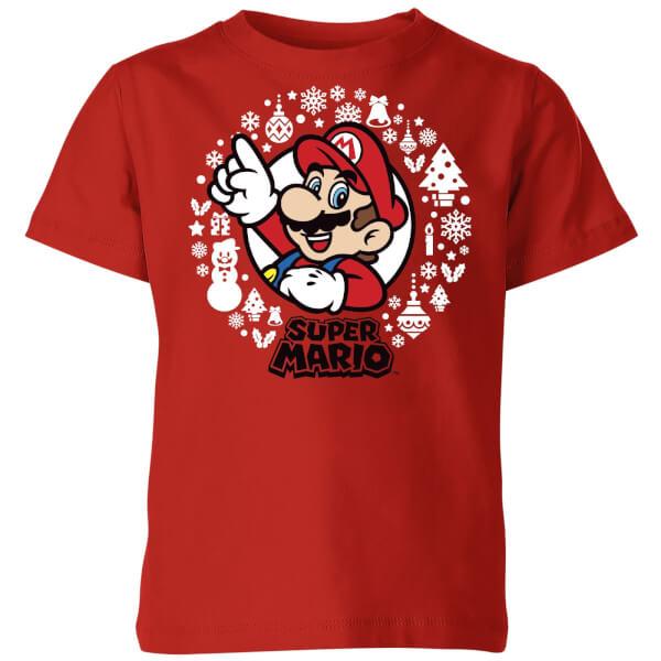 Nintendo Super Mario White Wreath Kids' T-Shirt - Red