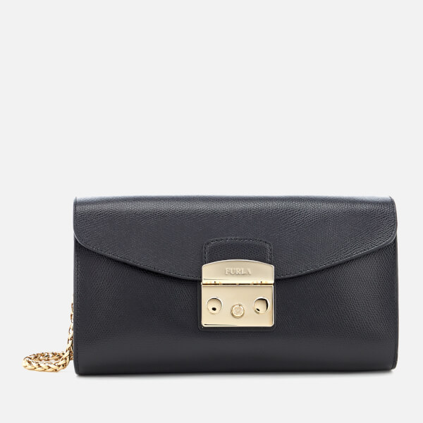 Furla Women's Metropolis Small Pochette With Chain - Black
