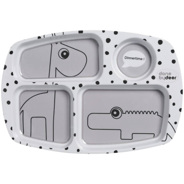 Done By Deer Compartment Plate Happy Dots - Grey
