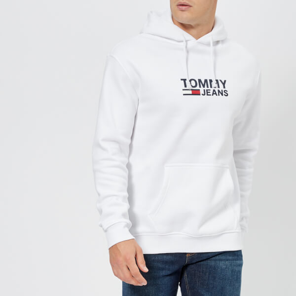 03af7b2b75f Tommy Jeans Men s Corporate Logo Hoody - Classic White Mens Clothing ...