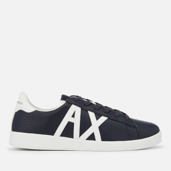 Armani Exchange Men's Perforated Leather Low Top Trainers - Navy/White