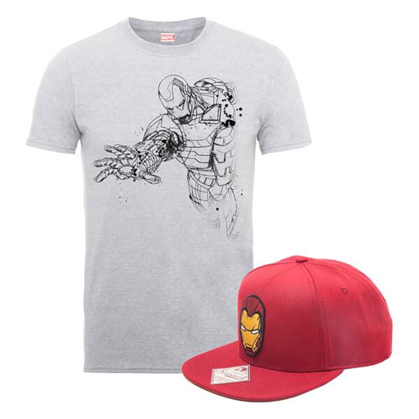 Marvel Comics Iron Man T-Shirt + Snapback Paket