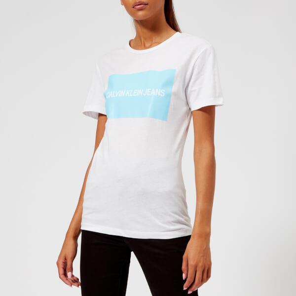 Calvin Klein Jeans Women s Institutional Box Logo T-Shirt - Bright White Sky  Blue 9d73235d45