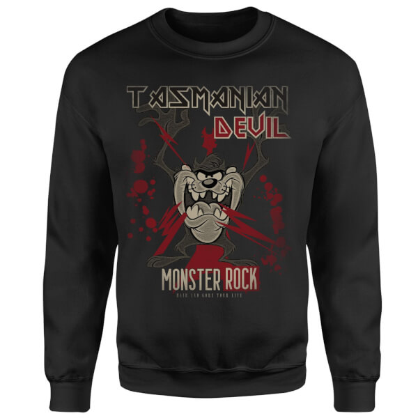 Looney Tunes Tasmanian Devil Monster Rock Sweatshirt - Black