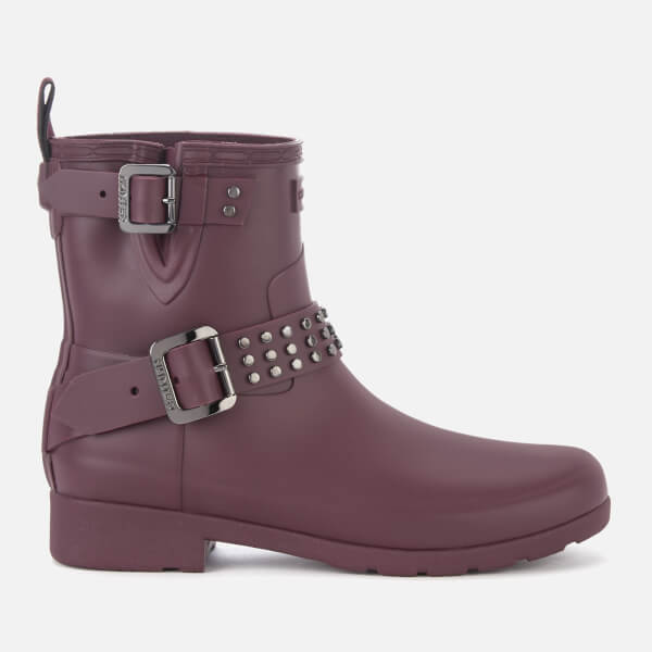 Hunter Women's Refined Stud Biker Boots - Oxblood