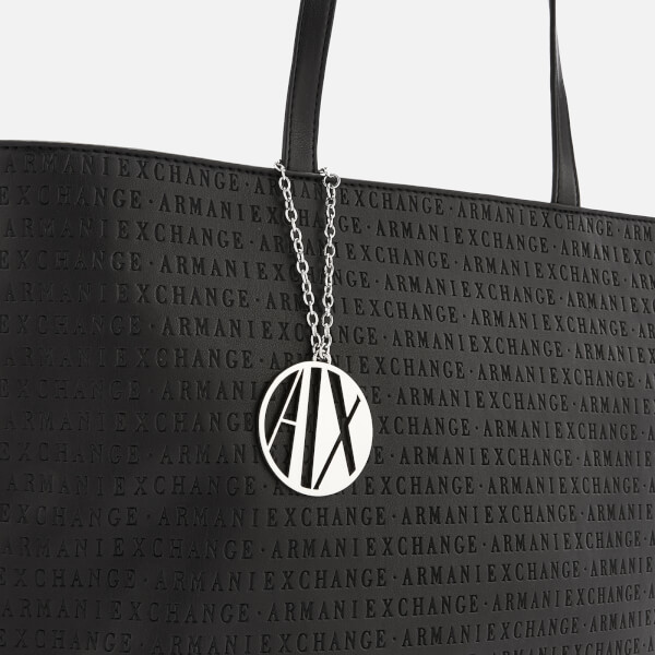 cac63a2c3f81 Armani Exchange Women s All Over Logo Embossed Zip Tote Bag - Black  Image 3