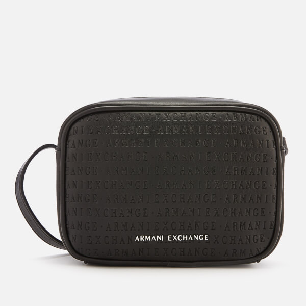 Armani Exchange Women's All Over Logo Embossed Cross Body Bag - Black