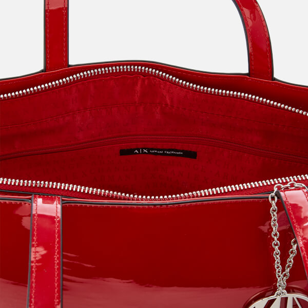 Armani Exchange Women s Patent Shopping Tote Bag - Red  Image 5 c47c18970d155