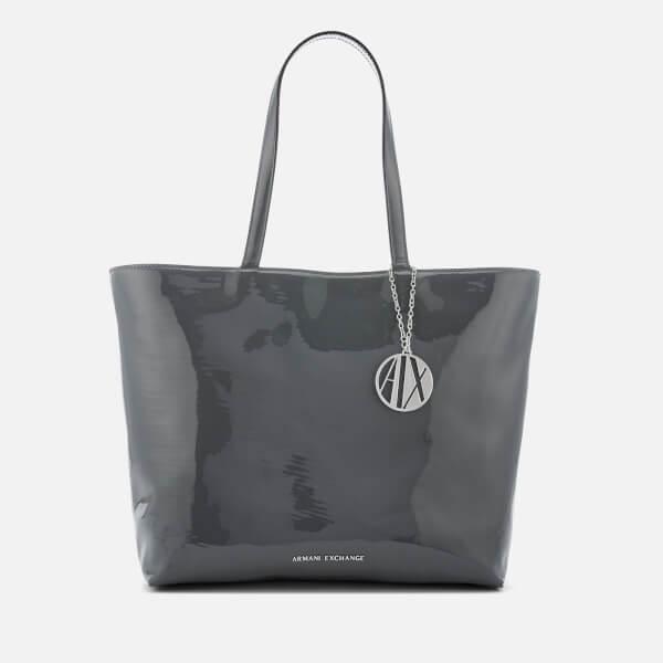 Armani Exchange Women's Patent Logo Tote Bag - Grey