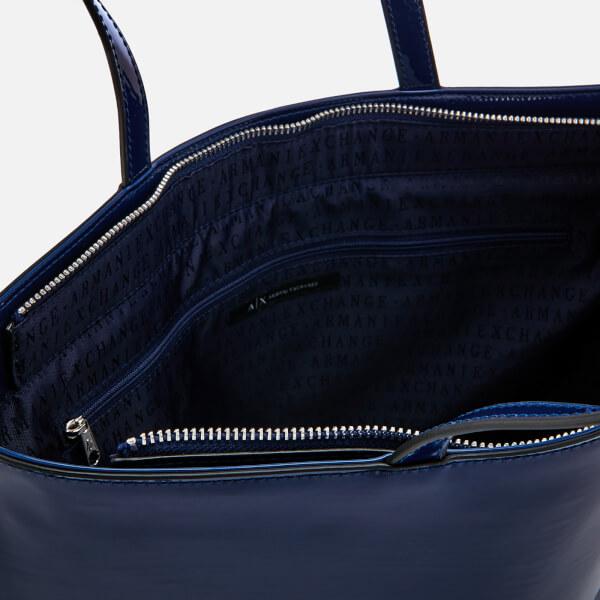 57d7b79b775d Armani Exchange Women s Patent Shopping Tote Bag - Navy  Image 4