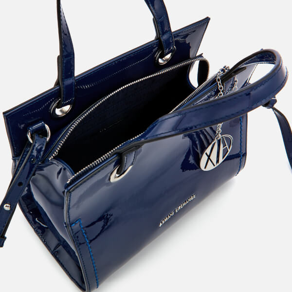 4887837fb027 Armani Exchange Women s Patent Logo Small Tote Bag - Blue Womens ...