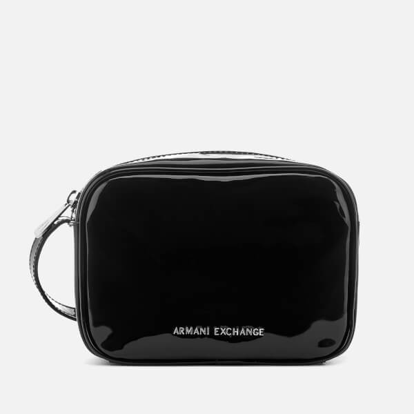 Armani Exchange Women s Patent Logo Cross Body Bag - Black  Image 1 05481da9825c9