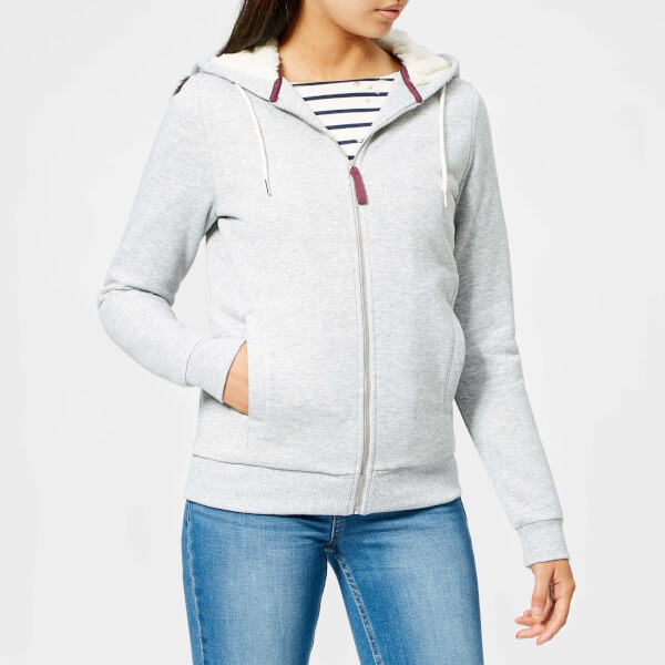 Joules Women's Rowan Faux Fur Lined Full Zip Hoody - Light Grey Marl