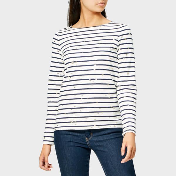 Joules Women's Harbour Print Gold Star Jersey Top - White