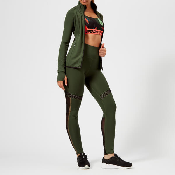 9e21819a6a508 Superdry Sport Women s Mesh Leggings - Khaki Womens Clothing ...