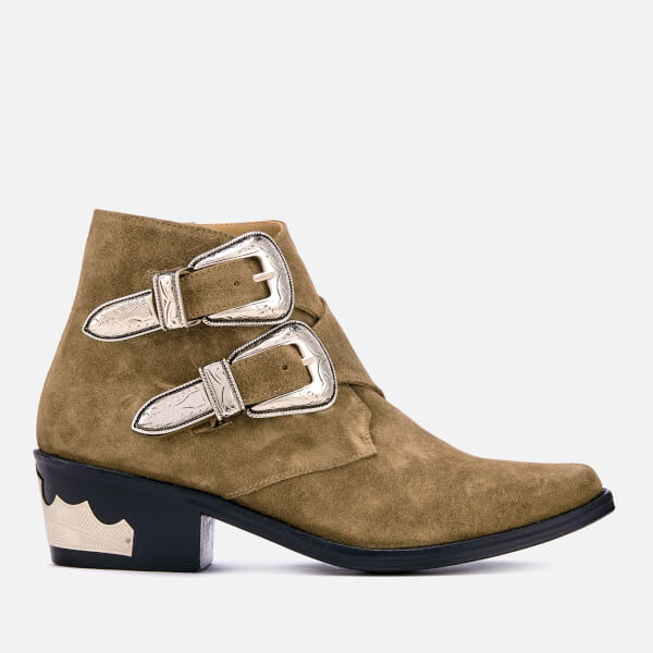 Toga Pulla Women's Suede Double Buckle Heeled Ankle Boots - Khaki