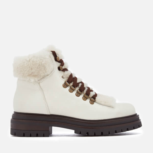 Kurt Geiger London Women's Regent Leather Hiker Style Boots - White
