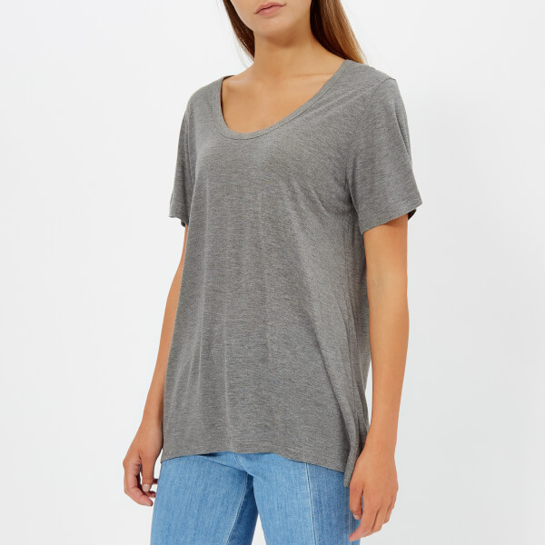 T by Alexander Wang Women's Drapey Jersey T-Shirt with T Darting Detail - Heather Grey
