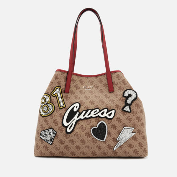 Guess Women's Vikky Large Tote Bag   Brown Multi by My Bag