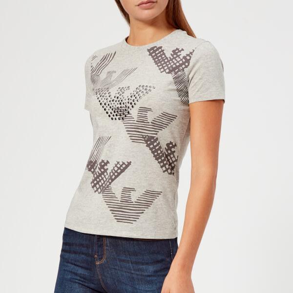 Emporio Armani Women s Logo Studded T-Shirt - White - Free UK ... 5499317fa6