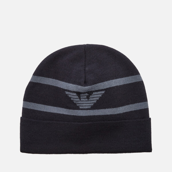 Emporio Armani Men's Beanie Hat - Blu Logo Avio