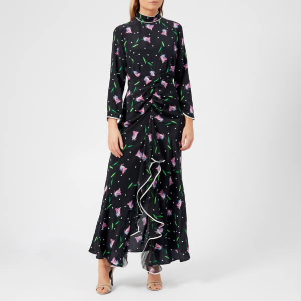 RIXO Women's Gabriele High Neck Ruffle Dress - Purple Spot Tulip