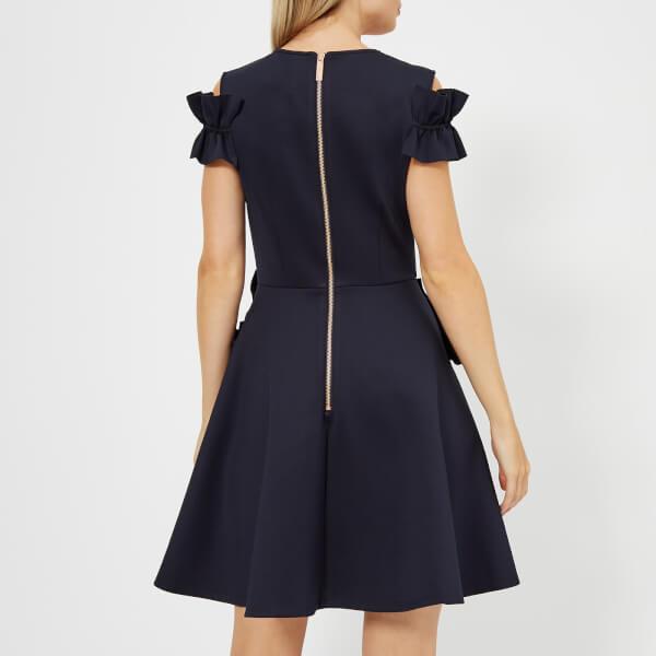 5d8e0bff1ad251 Ted Baker Women s Deneese Ruffle Detail Dress - Navy Womens Clothing ...