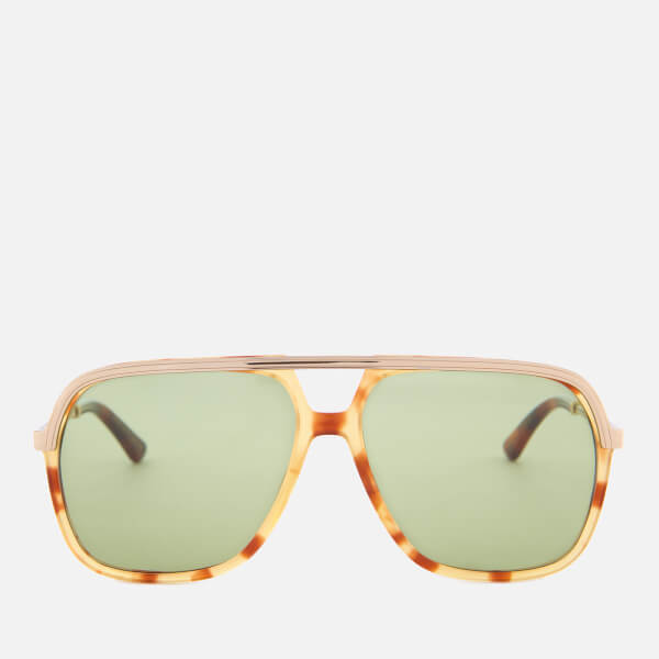 Gucci Metal Aviator Sunglasses - Havana