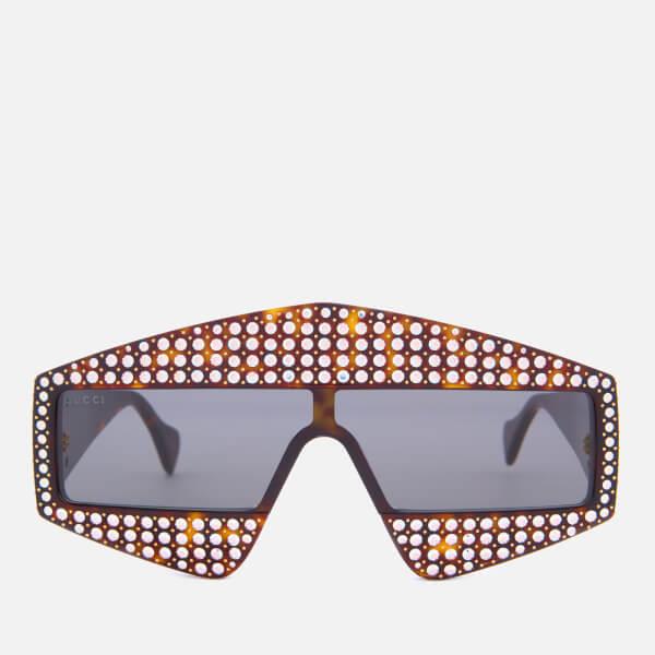 Gucci Women\'s Studded Diamante Sunglasses - Havana/Grey - Free UK ...