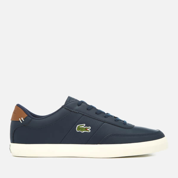 Lacoste Men's Court-Master 318 2 Leather Vulcanised Trainers - Navy/Brown - UK 10