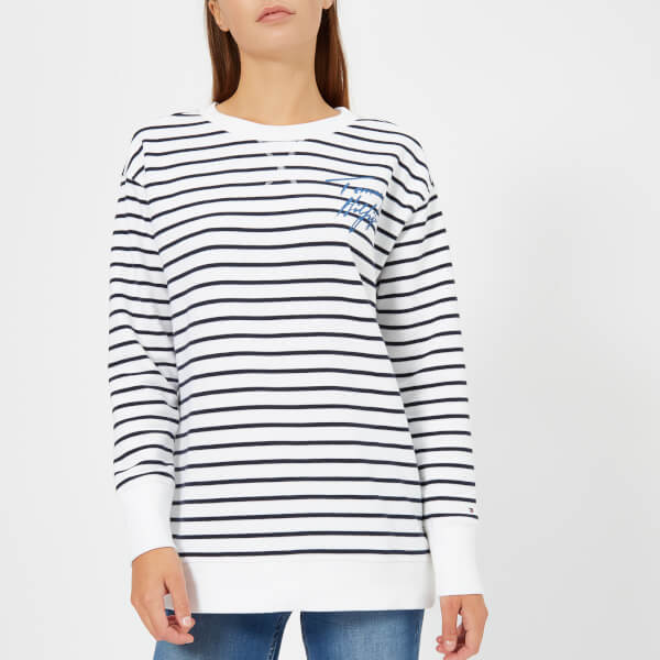 d43339c995 Tommy Hilfiger Women s Felicia Crew Neck Knitted Jumper - White Navy Stripe   Image 1