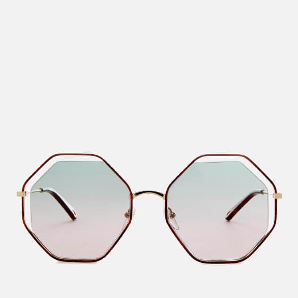 Chloe Women's Poppy Octagon Frame Sunglasses - Havana/Green Rose