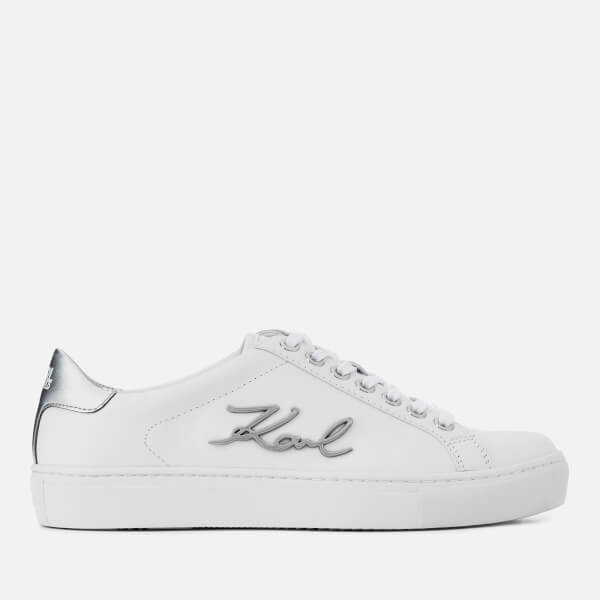 fdf3b19466b Karl Lagerfeld Women s Kupsole Signia Leather Low Top Trainers - White   Image 1