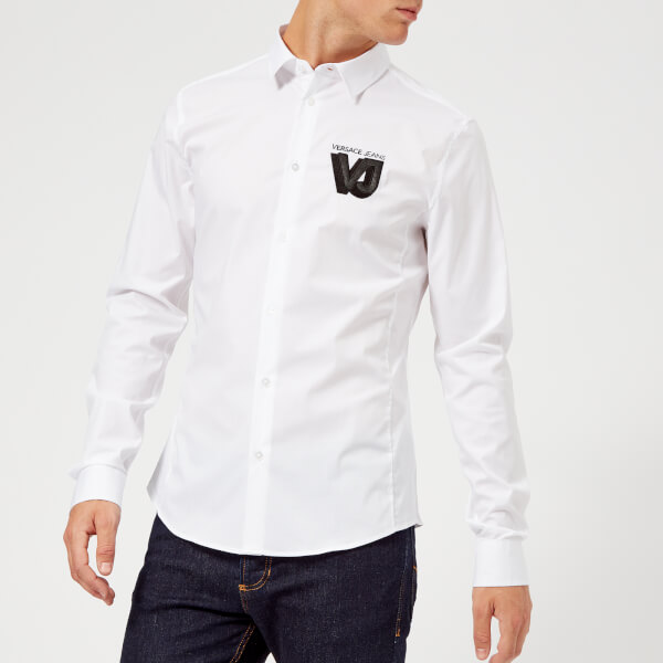 Versace Jeans Men's Logo Long Sleeve Shirt - White