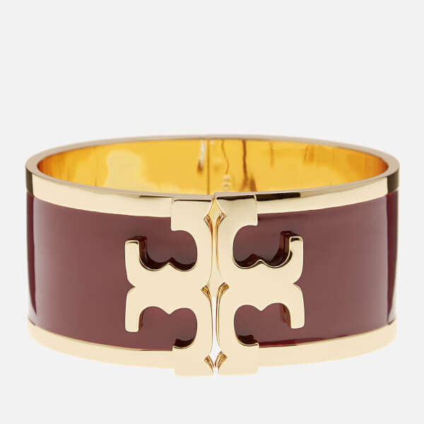 Tory Burch Women's Enamel Raised Logo Wide Cuff - Tuscan Wine/Gold