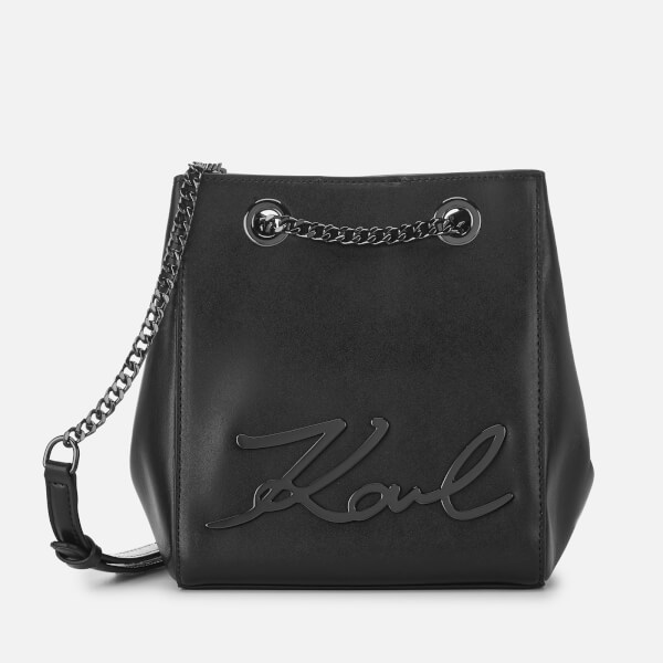 Karl Lagerfeld Women's Signature Bucket Bag - Black Gunmetal