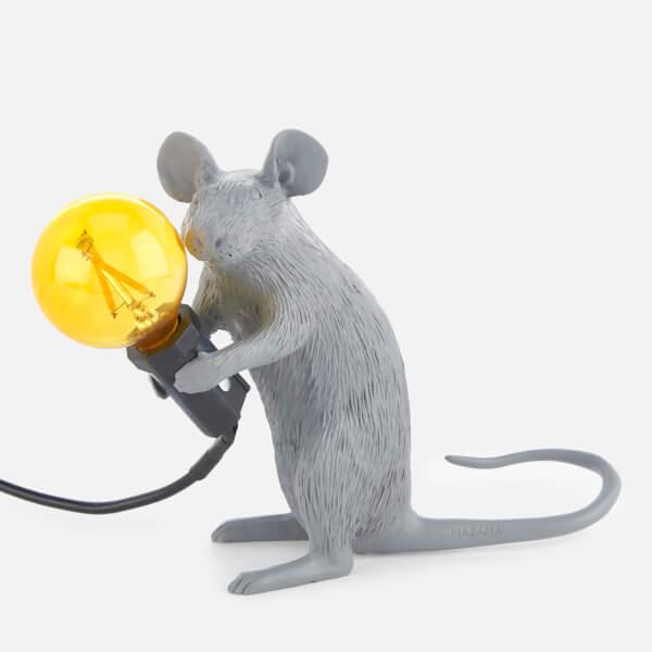 Seletti Sitting Mouse Lamp - Grey