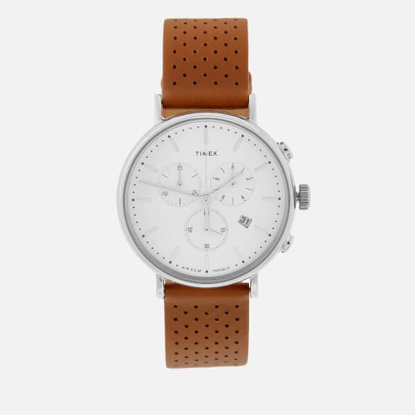 Timex Men's Fairfield Chronograph Leather Strap Watch - Silver-Tone/Tan/White