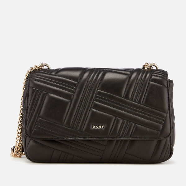 DKNY Women s Allen Large Flap Quilt Shoulder Bag - Black Gold  Image 1 5e3f12eff694e