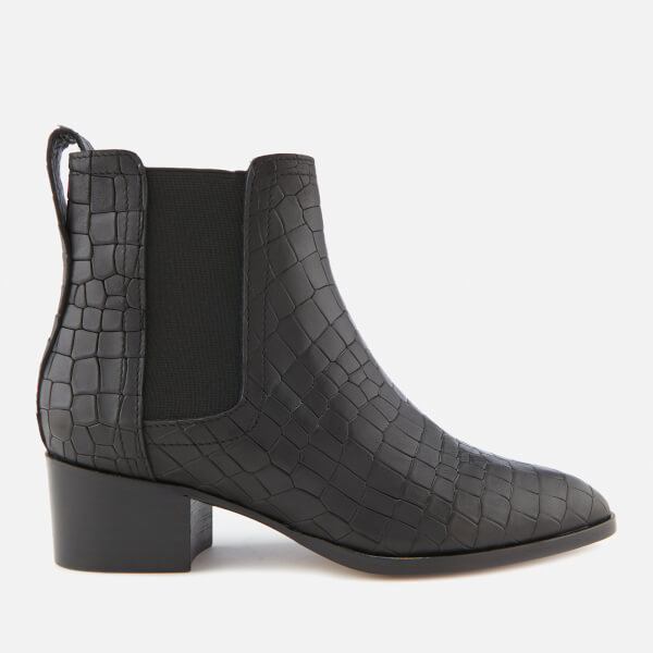 Whistles Women's Daisley Croc Heeled Chelsea Boots - Black