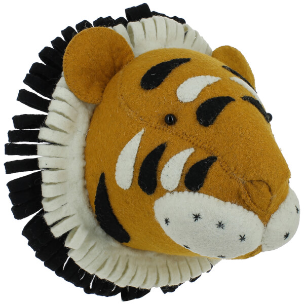 Fiona Walker England Double Ruff Tiger Wall Hanging Head