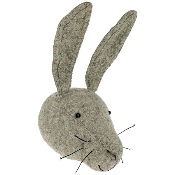 Fiona Walker England Grey Hare Wall Hanging Head